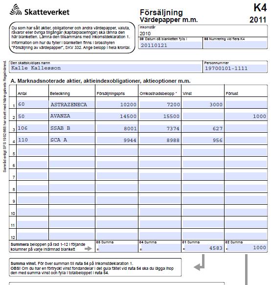 K4 blankett skatt för aktier