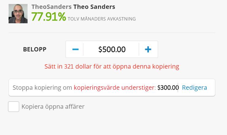 theo sanders framgångsrik trader